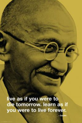 Gandhi Live Learn Forever Quote Art Print Poster