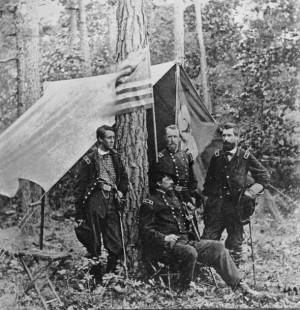 General Winfield Scott Hancock, Francis Barlow, David Birney, and John ...
