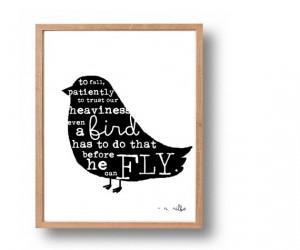Rainer Maria Rilke Quote Print, Black Bird Silhouette, 5x7 Literary ...