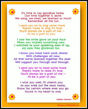 photo of: End of Year Poem by Debbie Clement (FREEBIE pdf at the Early ...