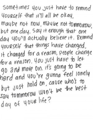 Remind yourself it will be okay