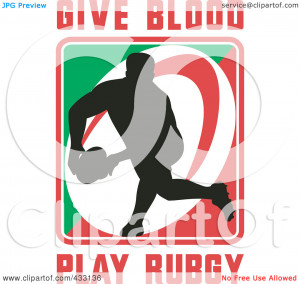 ... of a Rugby Man With Give Blood Play Rugby Text - 2 by patrimonio