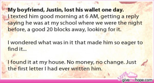 True love - My boyfriend, Justin, lost his wallet one day.