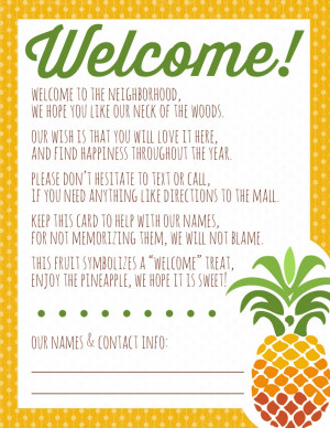 Welcome to the Neighborhood Pineapple Gift + Printable