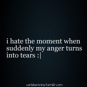 Hate The Moment When My Anger Turns Into Tears
