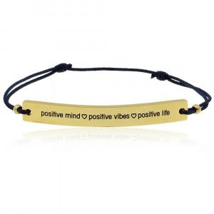 ... Quote Bracelet Dark Blue - Positive Mind Positive Vibes Positive Life