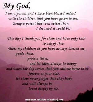 Thank you God for the blessing of being a parentParents Prayer, Life ...