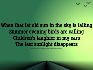 Fat Old Sun - Pink Floyd Song Lyric Quote in Text Image