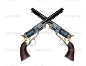 Two old metal colt revolver - Stock Image