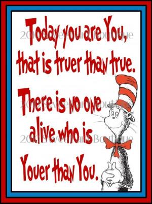 PIF pay it forward Dr Seuss art print today you are you Digital pdf U ...