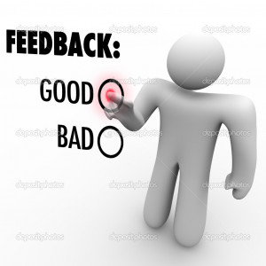 Giving Opinion Feedback Answering Question Touch Screen - Stock Image
