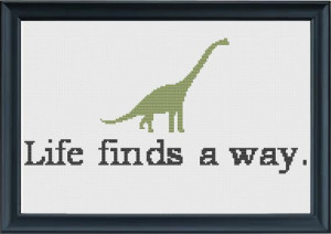 Life Finds a Way Jurassic Park Inspired by SewHappyCrossStitch, $5.00