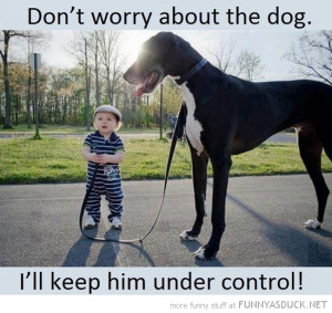 kid boy big dog animal don't worry keep control funny pics pictures ...