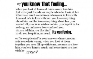 ... hurts so much sometimes. when your in love with him and he's in love