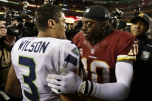 Russell Wilson greets Redskins QB Robert Griffin III after Sunday's ...
