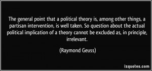 point that a political theory is, among other things, a partisan ...