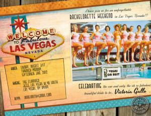 Bachelorette Party in Las Vegas vintage, retro invitation pinup girls ...