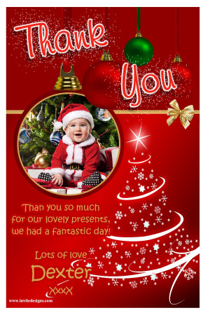10 Personalised Red Sparkle Christmas Tree Thank You PHOTO Cards