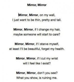 ... mirror poem pro ana pro mia pro ed self destructive eating dissorder