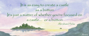 ... as a button' quote from Abraham-Hicks on seascape by Sandra Reeves