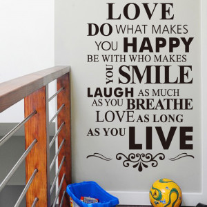 English Quotes 'Happy Life Rules' PVC Removable Wall Stickers New ...