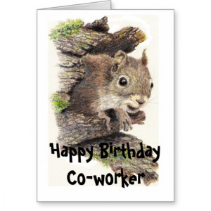 funny nutty co worker birthday squirrel card