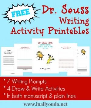 free} Dr. Seuss Writing Activities Printables