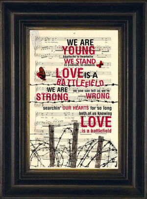 Pat Benatar Love Is a Battlefield Print on Recycled 1900 Sheet Music ...