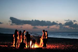beach, bonfire, friends, fun, summer, sunset