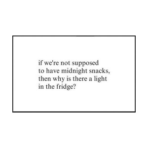 Funny Midnight Snack Fridge Light Quote - If we're not supposed to ...