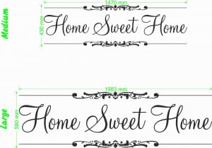 Home sweet home quote size chart wall art decal vinyl sticker