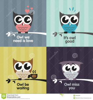 Cute Owl Love Quotes Vector owls royalty free stock