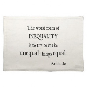 Vintage Aristotle Inequality Equality Quote Place Mat
