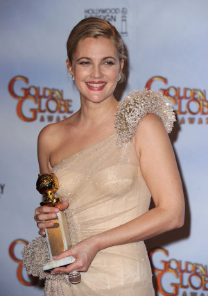 Photos and Quotes of Drew Barrymore from Golden Globes Press Room