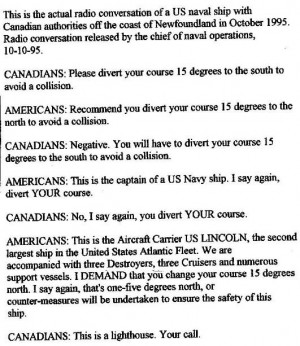 Funny photos funny US naval ship Canada radio conversation letter