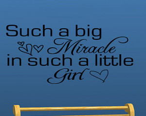 Such A Big Miracle Baby Girl Nursery Vinyl Wall Decal Quotes Home Wall ...