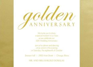Shimmering Golden 50th Anniversary Party Idea Invitation