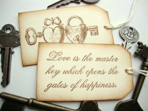 Wedding Favor Tags Skeleton Key Love Quote Rustic