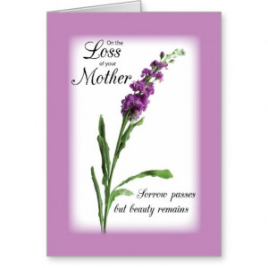 Sympathy Loss of Mother Purple, Religious Greeting Card