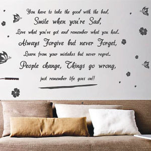 Life-Goes-On-Butterfly-Flower-Art-Wall-Quote-Stickers-Wall-Decals-Wall ...