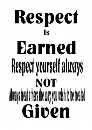 Respect is Earned, Word Art Wall Print. Inspiring Quotes. £10.00