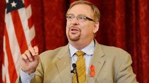 Pastor Rick Warren speaks at The Elton John AIDS Foundation and UNAIDS ...