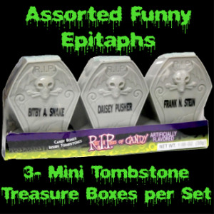 Pack Novelty Gothic REST IN PIECES BONES CANDY FILLED TOMBSTONES ...