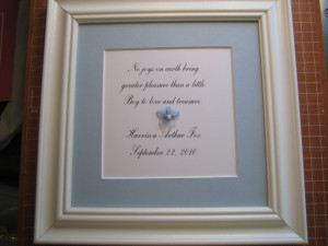Framed quote for baby boy's room - 9x9 -