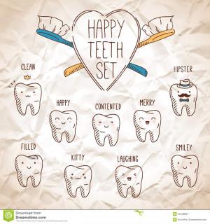 ... do Vetor: Dentes felizes ajustados Coleção dental para seu projeto