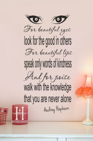 Audrey Hepburn Quote decor Vinyl Wall Decal For beautiful eyes look ...