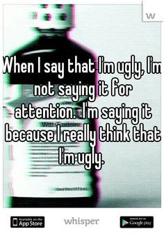 When I say that I'm ugly, I'm not saying it for attention. I'm saying ...