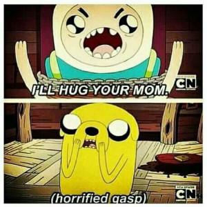 Finn Hits Below The Belt Hugging Jake's Mom On Adventure Time