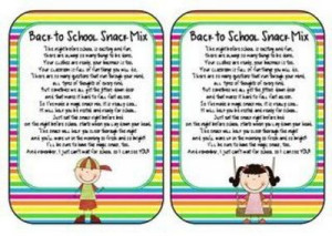 Back to school snack mix! Poem that goes with a little treat bag for ...