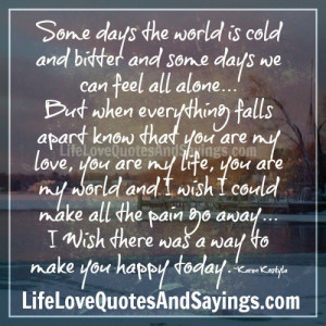Some days the world is cold..
